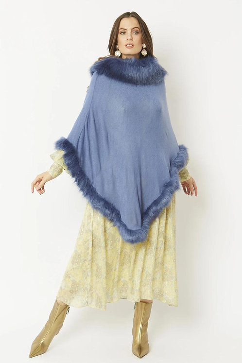 Light Blue Luxury Faux Fur Trim Knitted Poncho