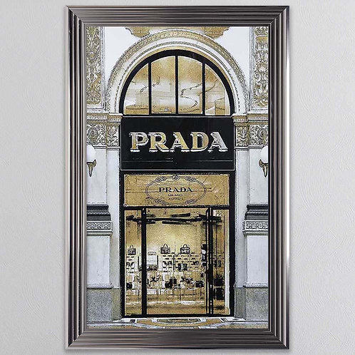 Gold Prada Shop Front Mirror on Chrome Scoop Frame 75x55cm