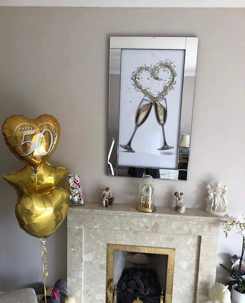 Heart Champagne Splash on Mirrored Frame 100x60cm