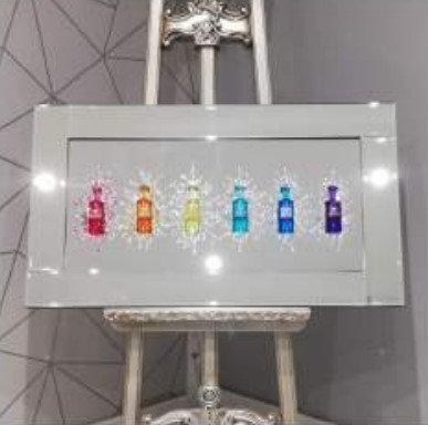 3D Coloured Mini Bar on Mirrored Frame 55x55cm