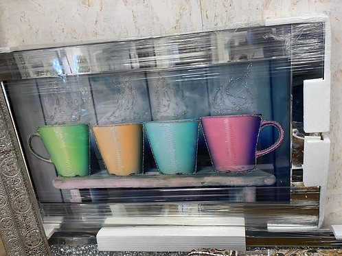 Multi Coloured Cups on Mirrored Frame