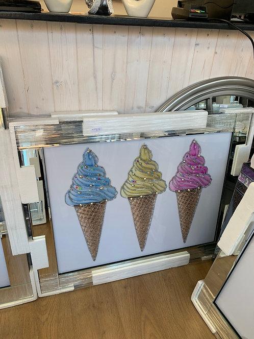 Ice Creams on Mirrored Frame 95x75cm