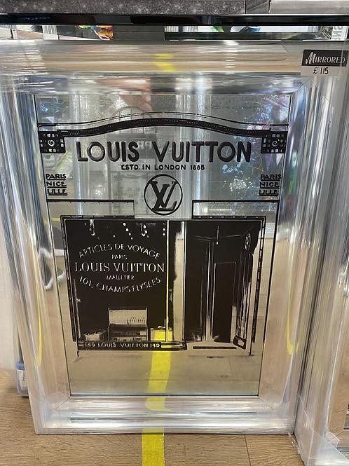 Louis Vuitton Shop Front Mirror on Chrome Scoop Frame 75x55cm