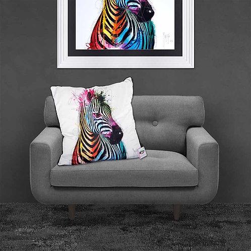 Colourful Zebra Feather Filled Cushion  55x55cm