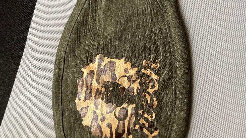 """Green /Leopard Print """"QUEEN"""" Mask"""