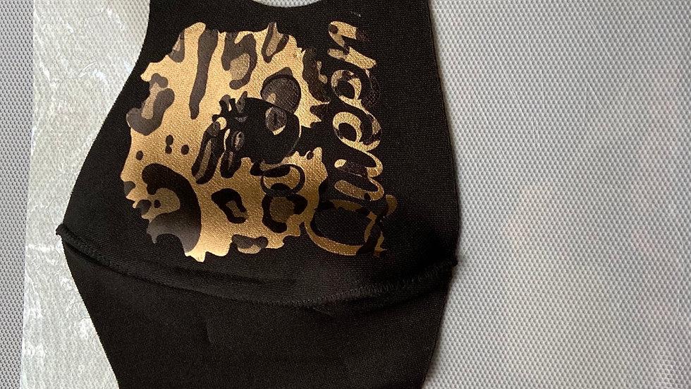 """Black/Leopard """"QUEEN"""" Mask"""