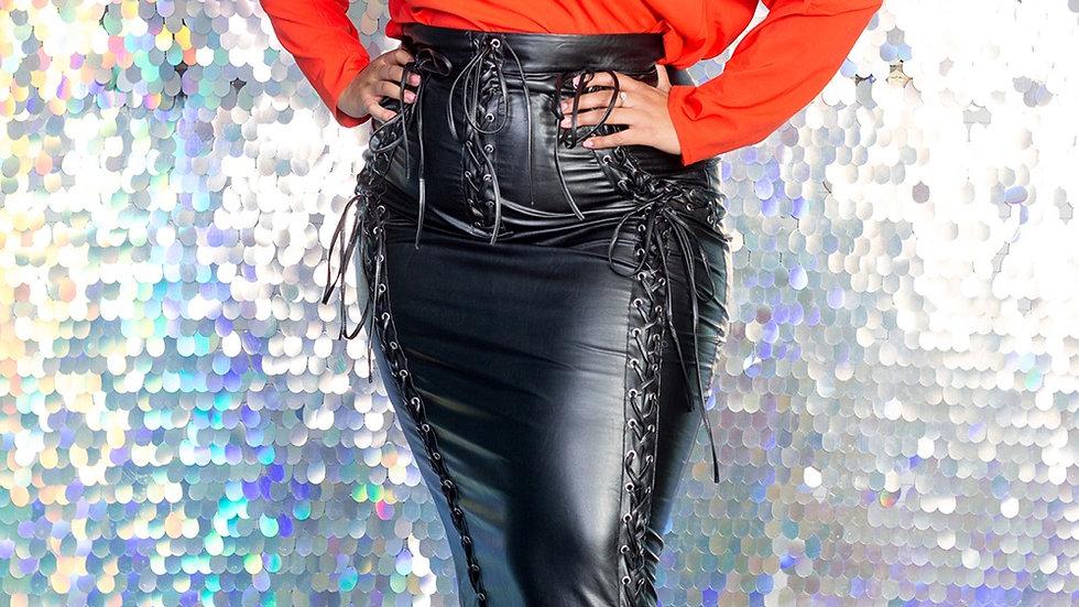 Faux leather bondage skirt