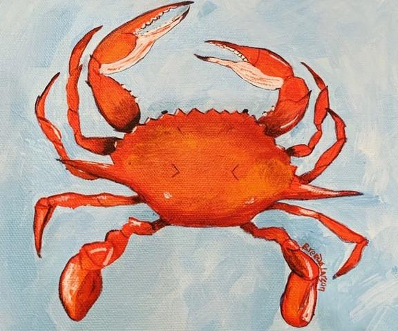 Crabby #8-Coastal Contemporary Art Painting