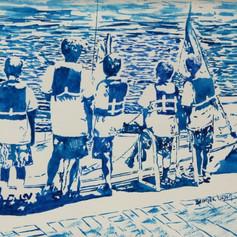 Sailing Ego Alley- Annapolis Maryland-Coastal Painting-Contemporary Art