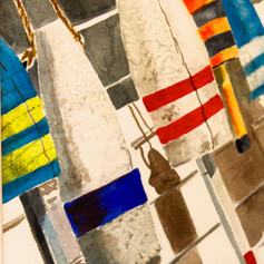 Hanging Out To Dry-Coastal Painting- Contemporary Art