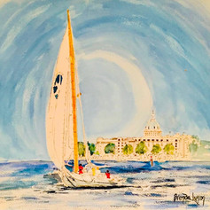 A Day On The Water, Naval Academy, Watercolor, Annapolis MD
