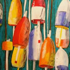 Crab Pot Markers-Coastal Painting-Contemporary Art
