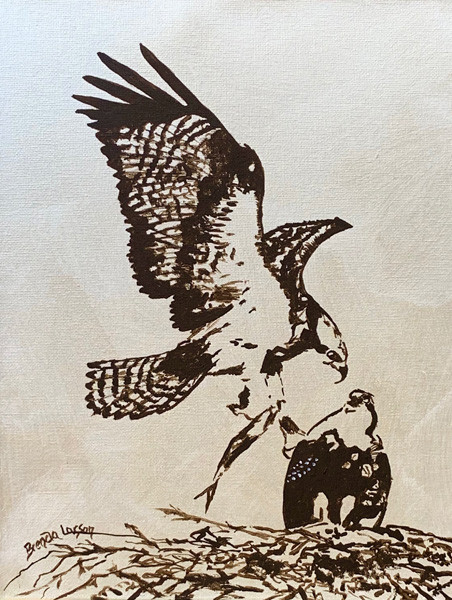 Dinner Time-Osprey-Coastal Painting-Contemporary Art