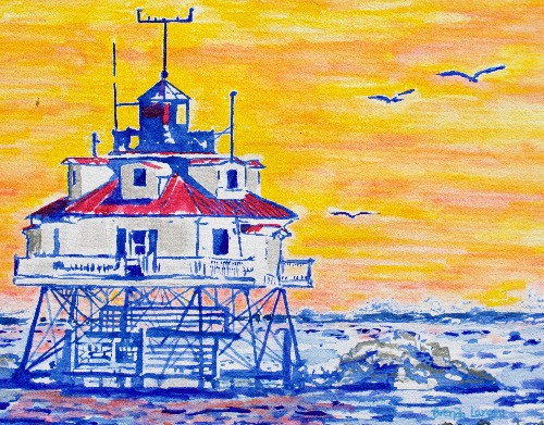 Thomas Point At Sunset-Contemporary Art-Annapolis Maryland