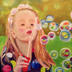 Blowing Bubbles -Girls Contemporary Art