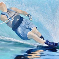 Making A Splash Waterskiing-Coastal Painting- Contemporary Art