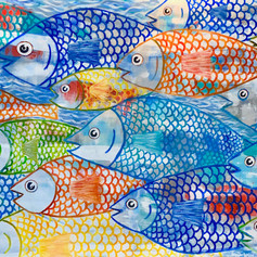 School Days-Fish-Contemporary Bright Colors Painting