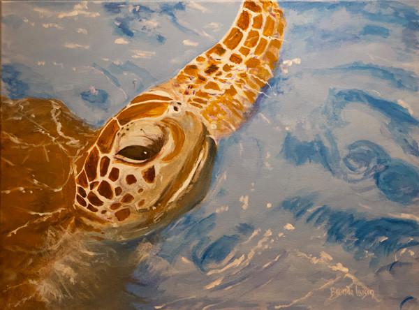Tommy The Turtle-Contemporary Coastal Art Painting