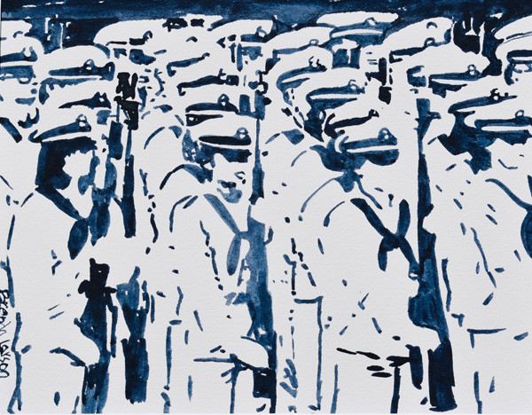 Plebe Parade 2- Naval Academy Painting-Contemporary Art