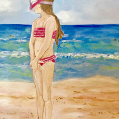 I'm Not Going In The Water-Coastal Painting-Contemporary Art