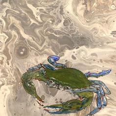 Crabby #2-Crabs-Coastal Contemporary Art Painting
