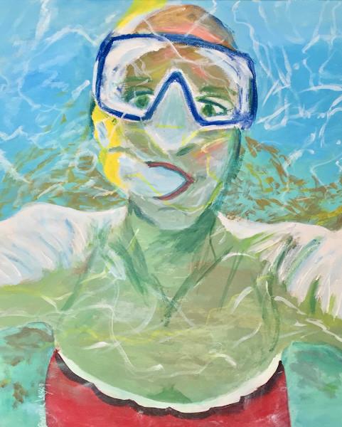 Self Portrait-Snorkeling-Beach-Coastal Painting-Contemporary Art