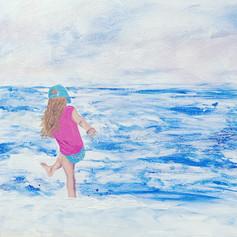 Kicking Waves At The Beach-Coastal Painting-Contemporary Art