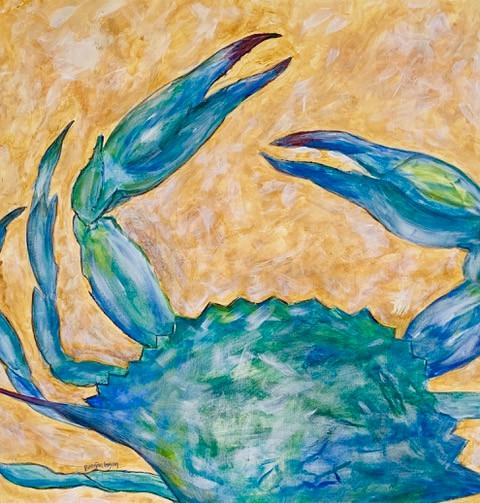 Crabby #1-Coastal Contemporary Art Painting