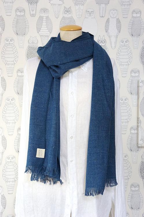 リネン-ウール スカーフ 濃紺