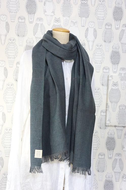 リネン-ウール スカーフ グレー