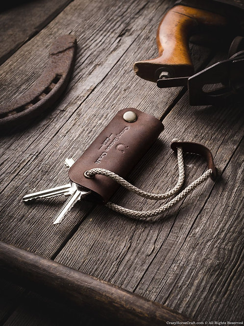 Leather Key Organizer & Holder Wood Brown
