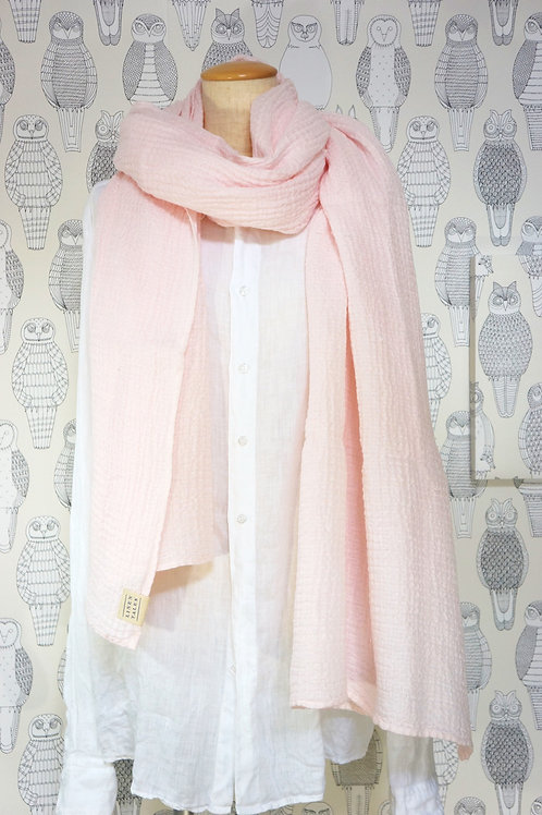 リネン ワッフルスカーフ Heavenly pink