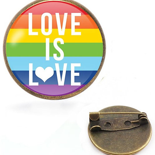 Love Is Love (Flag) Glass Domed Lapel Pin