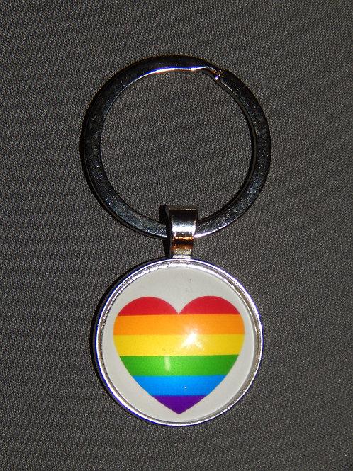 Rainbow Heart Glass Domed Keyring