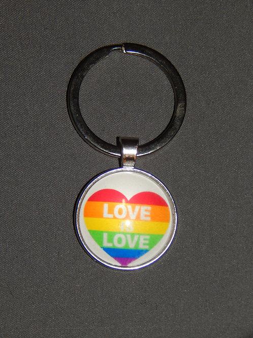 Love is Love (Heart) Glass Domed Keyring
