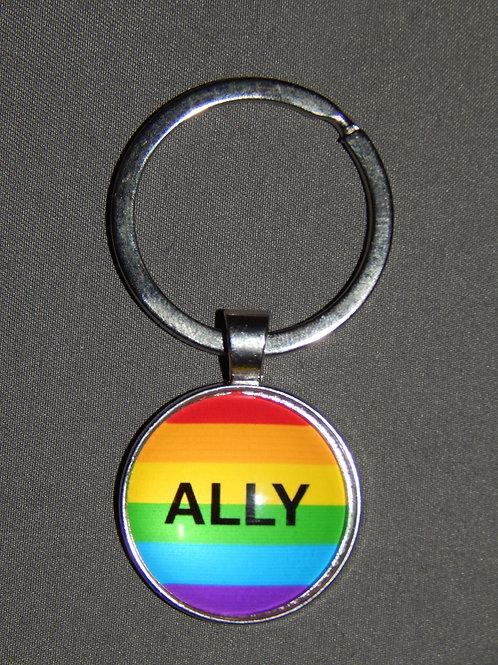 Ally Glass Domed Keyring