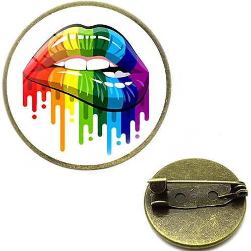 Lips Glass Domed Lapel Pin