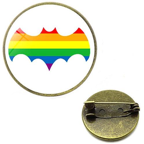 Bat Glass Domed Lapel Pin