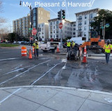 Saw cut for conduit trench at Mt. Pleasant & Harvard.