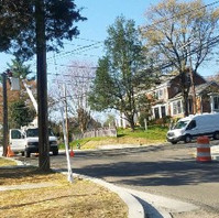 PEPCO pole work on transferring cables from obstructing pole on Oregon Avenue.