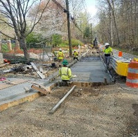 Contractor excavated for road work and installed Bus Stop Pad.