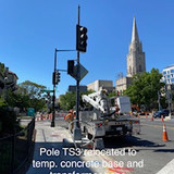 Pole TS3 relocated to temp. concrete base and transformer base (SE 16th & Columbia)
