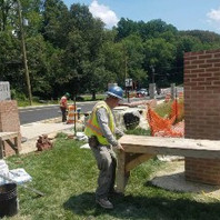 At Phase-2 remnant work, Contractor began building brick around the CMU columns.