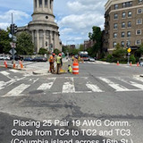 Placing 25 Pair 19 AWG Comm. Cable from TC4 to TC2 and TC3. (Columbia island across 16th St.)