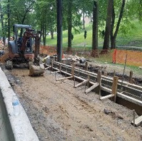 Contractor continued the installation of thickened PCC Curb & Gutter at LID9-1