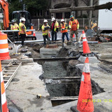 Placed concrete conduit MH-C to MH-B at Harvard St. NW.