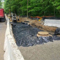 Contractor continued full depth Roadway excavation and placed Geotextile and GAB.
