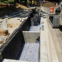 Contractor removed forms and inspected the new placed Concrete Check Dam within LID 8-1 Cell.