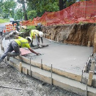 Contractor prepared, formed, and poured PCC Wheelchair Ramp at Rittenhouse and Oregon Avenue NW corner.