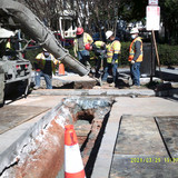 Placed concrete for electric conduit at 16th St. & Park St. NW.